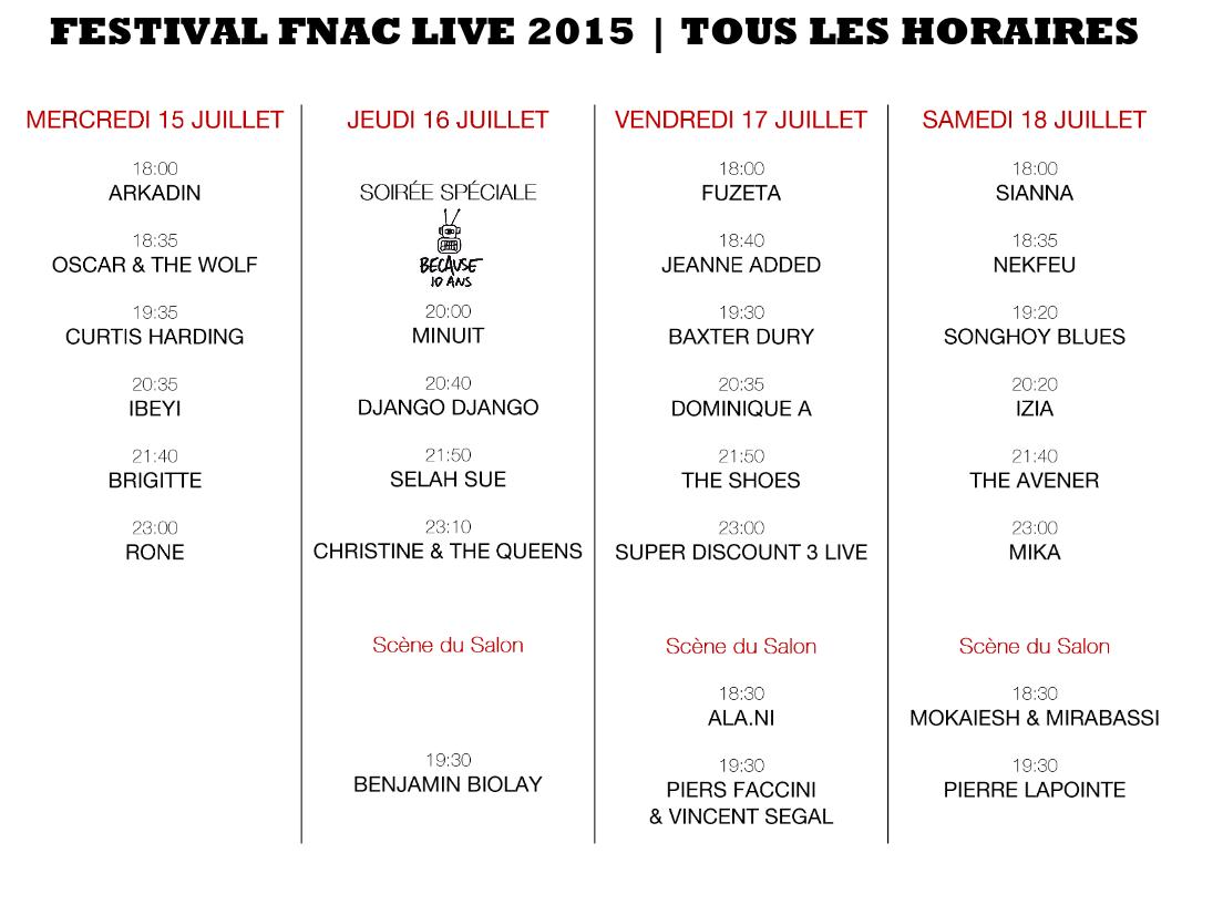 programaçao fnac live festival 2015