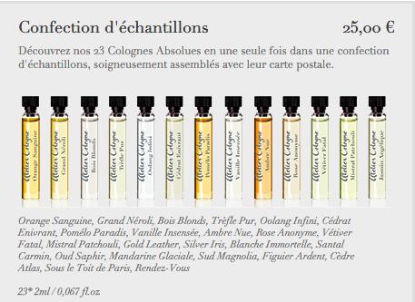 caixa com 23 amostras de perfumes